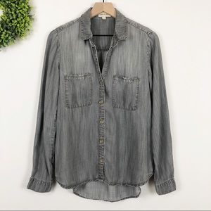 {Anthro} Cloth & Stone Gray Chambray Button Up M